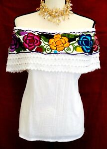 Image is loading Mexican-Blouse-off-shoulder-Women-Top-cotton-gauze-