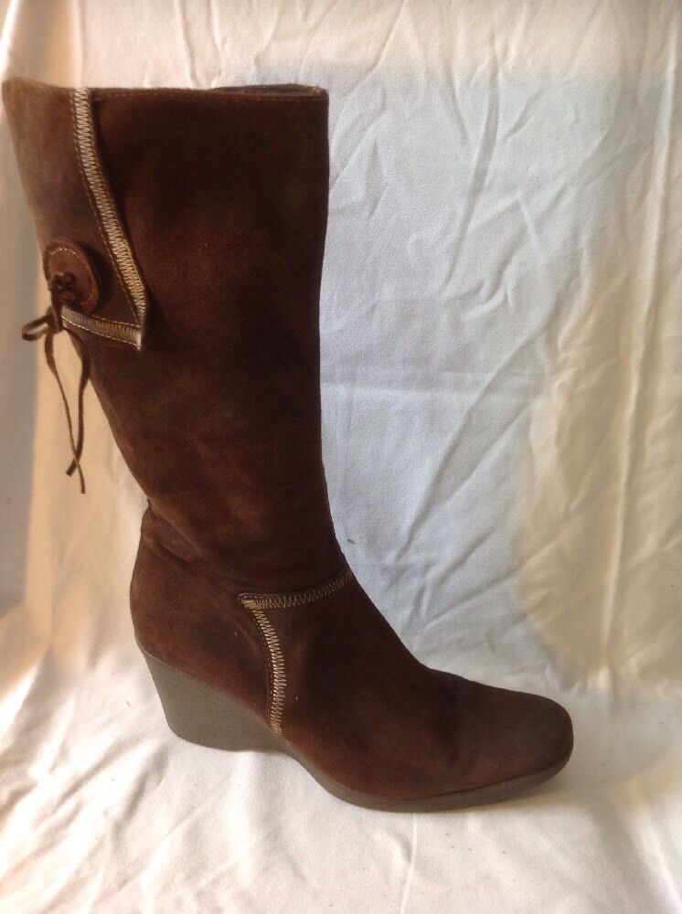 Lea Foscati Brown Mid Calf Suede Boots Size 40