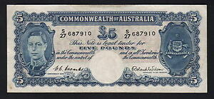 Australia-R-48F-1952-Five-Pounds-Coombs-Wilson-1st-Prefix-S-27-VF