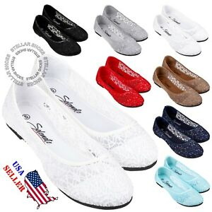 New-Womens-Cute-Lace-Crochet-Ballet-Flat-Comfy-Slip-On-Loafers-Ballerina-Shoes