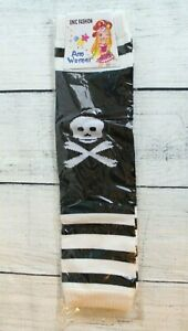 Black-amp-White-Striped-Arm-Warmers-Skulls-Knit-Juniors-Teens-One-Size-Unisex