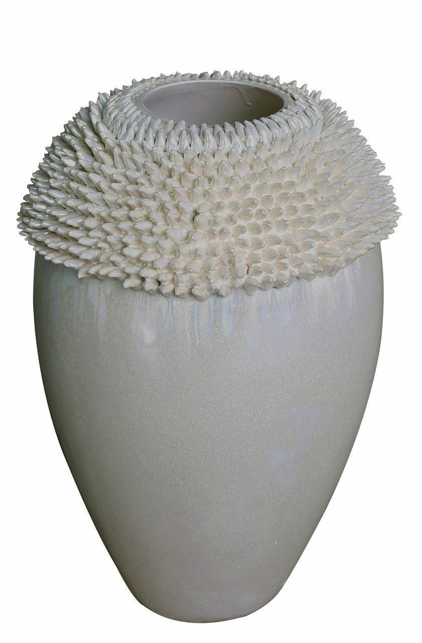 Madre de Perla Crema Flor Grande Decoración Florero de erizo de mar-blcc 6039