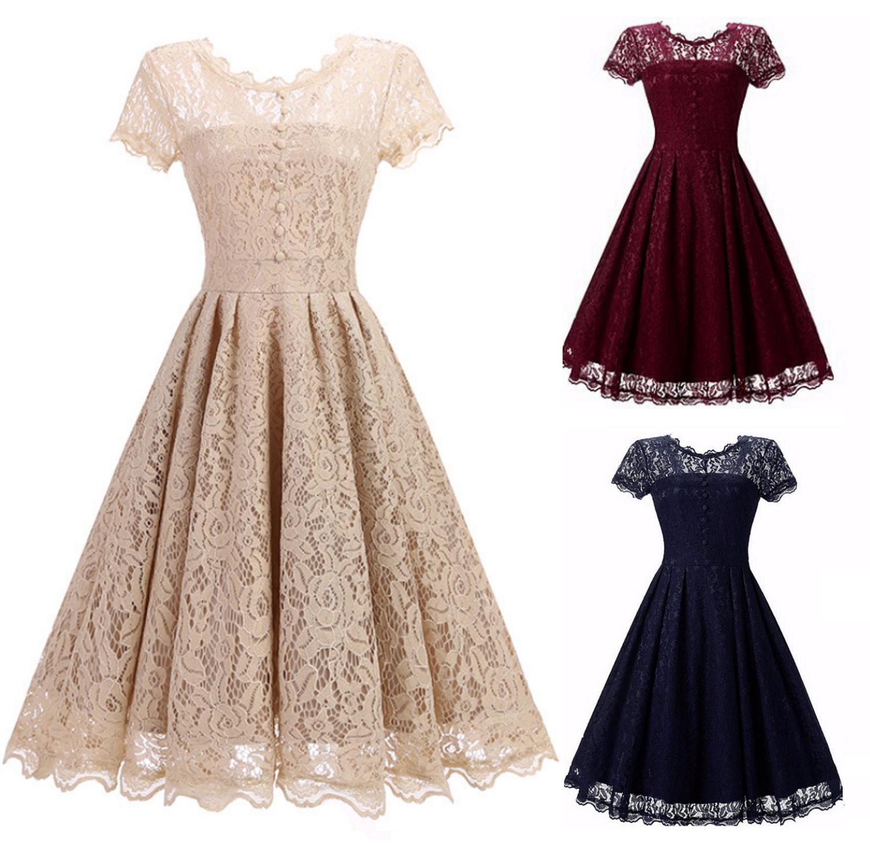vestito Mini abito cerimonia da donna stile vintage in pizzo floreale foderato