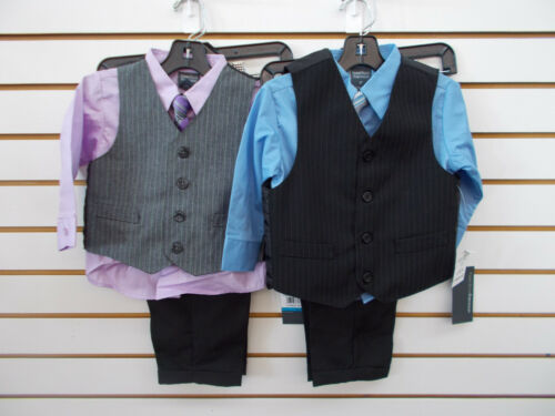 Infant 5 Toddler /& Boys Perry Ellis Purple or Blue 4pc Vest Suit Size 12mo