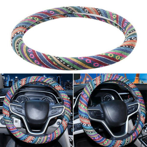 Automotive Ethnic Flax Cloth  Car Steering Wheel Cover 38*3.4cm Durable Portable