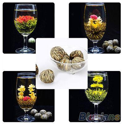 Fashion Designed Chic 4 Balls Different Handmade Blooming Flower Green Tea B83U