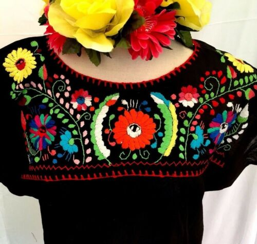 Hand Gauze Blouse Floral Peasant Hippie Top Oaxaca Mexican Embroidered Women 45zPT