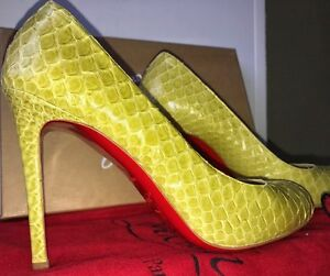 hot sale online 2ed6f 368a8 Details about New AUTH CHRISTIAN LOUBOUTIN YELLOW PYTHON SNAKESKIN LEATHER  HEELS 38