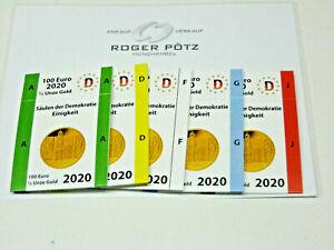 5 Münzschuber für die 100 Euro Gold Münzen wahlweise von 2002 - 2021 Recht