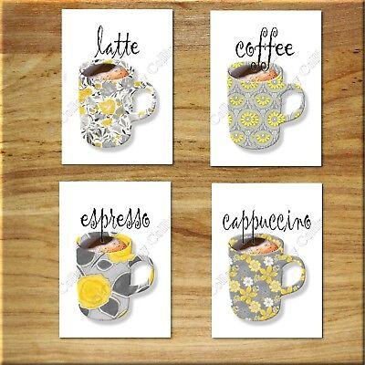 Gray Yellow Kitchen Wall Art Picture Prints Coffee Cup Mugs Decor Latte Espresso Ebay