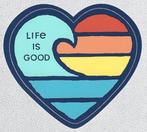 NEW LIFE IS GOOD DIE CUT WAVE HEART OCEAN SUNRISE SUNSET SURF STICKER DECAL