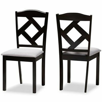 Stupendous Baxton Studio Ruth Dining Side Chair In Grey And Brown Set Of 2 842507154684 Ebay Bralicious Painted Fabric Chair Ideas Braliciousco