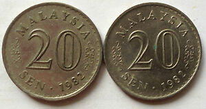 Parliament Series 20 sen coin 1982 2 pcs
