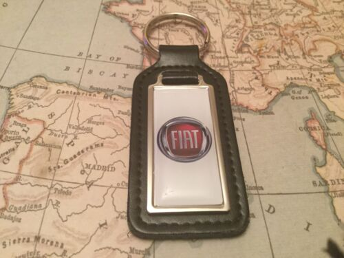 FIAT Quality Black Real Leather Keyring  OBLONG