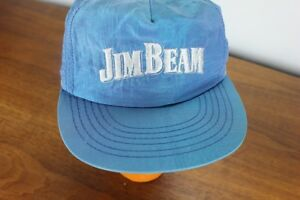 1775f9dbf86 Vintage Jim Beam Nylon Snapback Hat Whiskey Liquor Cap Blue 90 s ...