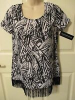 - Notations Ladies Pretty Black & White Top With Bottom Fringe - Sz S