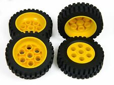 LEGO TECHNIC WHEELS Model Team set of 4 42x12mm Wheel Tire large tyre yellow *