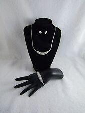 Vintage Clear Rhinestone Silver Tone Herringbone Necklace Bracelet Earring Set
