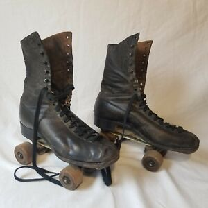 Vintage Roller Skates Wood Wheels Hyde Good Year Welt With Carrying Case Ebay