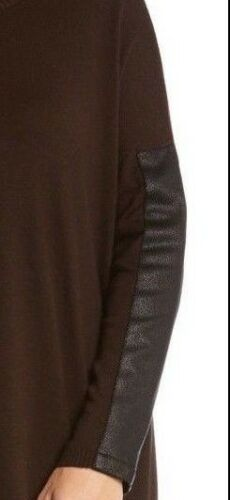 Karen Kane 3L89581 Brown w//Black Faux Leather SlV Pull-over Tunic Sweater $108