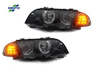 DEPO-Angel-Halo-Headlight-Smoke-Amber-LED-Corner-Light-For-99-01-BMW-E46-4DR-5DR