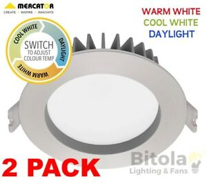 reputable site faa3a 73a2c Details about 2x 10w LED DOWNLIGHT CCT CHANGING WARM/COOL/DAYLIGHT MERCATOR  OPTICA TRIO SILVER