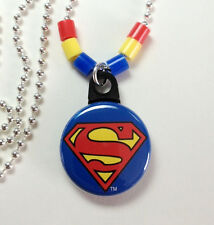 """**SUPERMAN** Necklace 1"""" Button Pendant On Chain ~~USA Seller"""