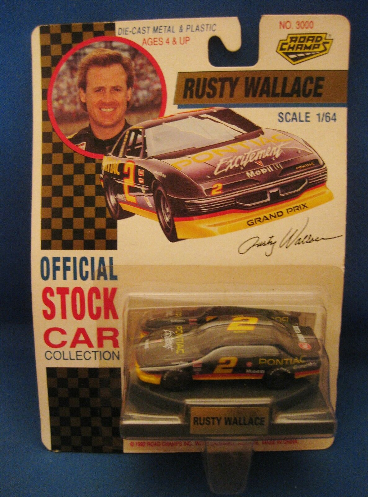 RUSTY WALLACE PONTIAC EXCITEMENT 1992 ROAD CHAMPS 1 64 SCALE DIE CAST