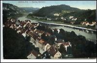 Wehlen sächsische Schweiz alte Postkarte 1912 Gesamtansicht mit Fluß Elbe