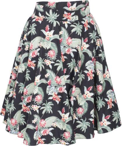 Küstenluder JAMIE Vintage TROPICAL Floral Blüten Pin Up Swing Skirt ROCK Rockabi