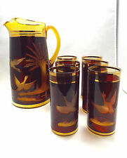 Antique Amber Cut to Clear Bohemian Crystal Birds in Flight Pitcher & 6 Glasses