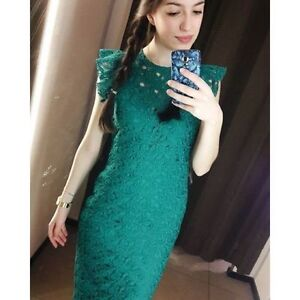 2a2ff22650 NWT ZARA Flutter Cap Sleeves Midi Tube Guipure Lace Dress Emerald ...