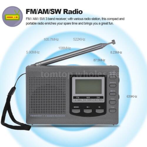 Portable FM//AM//SW Radio Multiband Digital Receiver Time Display Alarm Clock S7I4