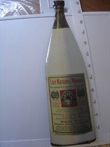 Tole-lithographiee-61-cm-LAIT-NATUREL-MONDIA-1920-deux-ondulations-au-goulot