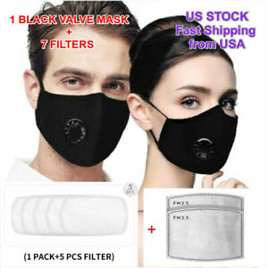 Washable and Reusable with Filter Valve Tie-dye Cotton Protection Cover for Adult Black