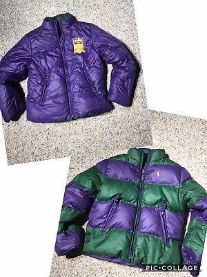 Ralph Lauren Polo Girls Purple Green Down Puffer Reversible Jacket Small 7 | eBay