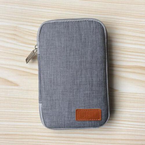 Storage USB Cable Organizer Bag Case Digital Earphone Travel Insert Black Gray