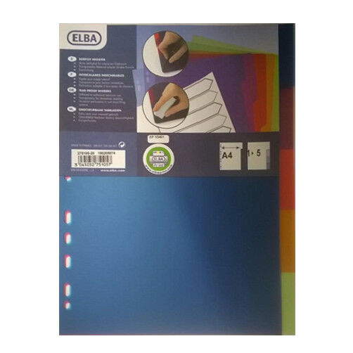 1x Pk Elba A4 5-Tab Tear-Proof file Dividers Organisers Universal Perforation