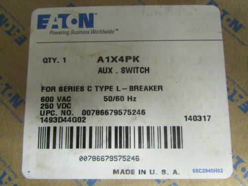 EATON CUTLER HAMMER A1X4PK Auxiliary Switch for L Frame Breaker 1493D44G02