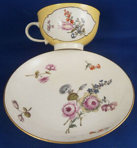 Antique 18tC Meissen Porcelain Yellow Ground Floral Cup & Saucer Porzellan Tasse