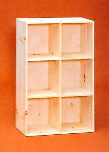 AMISH Unfinished Pine ~ 6 Hole Bookcase Shelf - Storage Cuddy Cube - Shoe Rack
