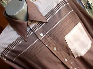 LARGE True Vtg 70s Mens CHOCOLATE BROWN STIPE COLLARED BUTTON DOWN RELIC SHIRT