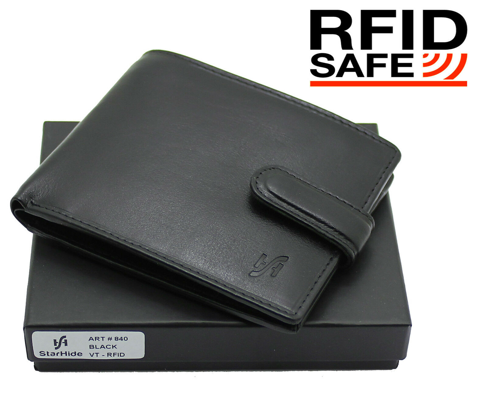 Mens RFID Blocking VT Leather Billfold Wallet Black