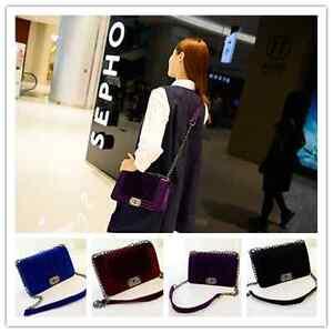 New-Velvet-chain-package-oblique-cross-bag-lady-single-shoulder-bag-Tote-Purse-H