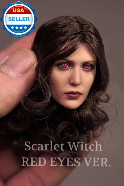 1//6 Elizabeth Olsen Scarlet Witch Long Curl Head For Scarlet Witch Figure Body
