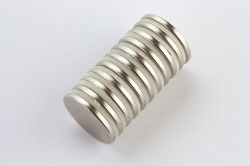 20 Stück Scheibenmagnete  20 x 2 mm Neodym N45 vernickelt Supermagnete