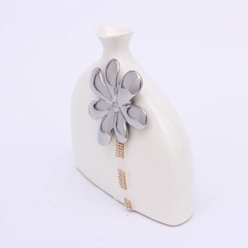 Vase Ceramic Beige Silver  with Diamante Home Decoration Brand New 28cm*22cm