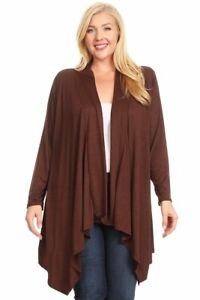 New-Women-039-s-Plus-Size-Brown-Long-Sleeve-Open-Cardigan-Sizes-2X-3X-4X-USA