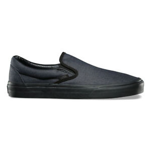 870231d677 Vans Classic Slip On Mono Chambray All Black Men s 5.5 Women s 7 ...