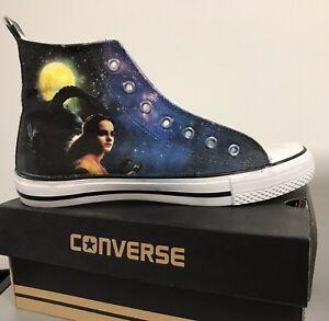 11c0ea1a716f Image is loading Beauty-and-the-Beast-Kids-Custom-Converse-Shoes-